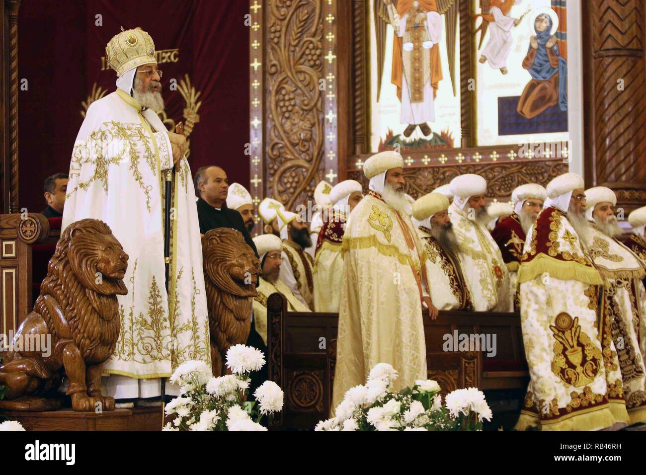 Orthodox Christmas 2019.Cairo Egypt 6th Jan 2019 Pope Tawadros Ii 1st L