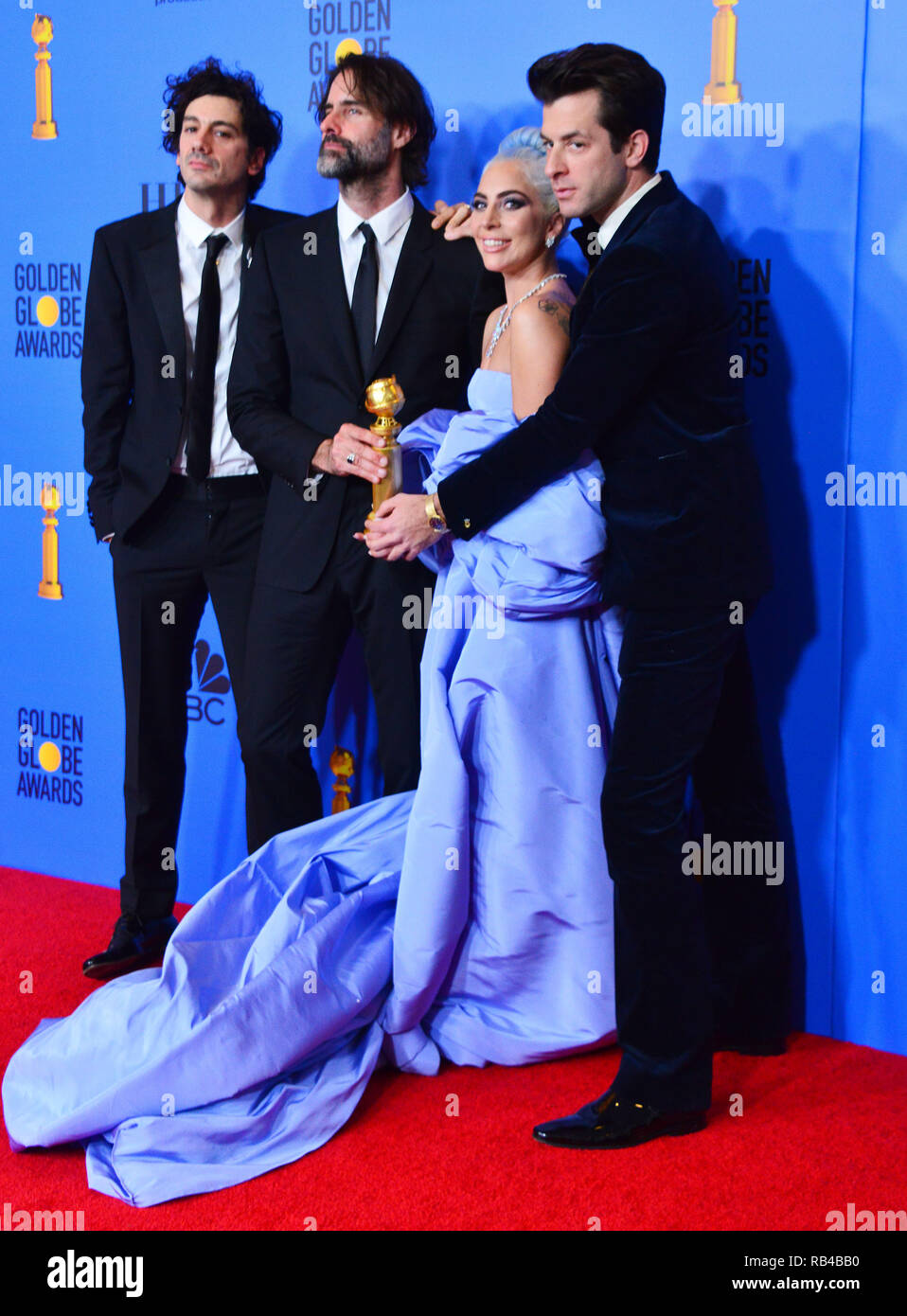 Los Angeles, USA. 06th Jan, 2019. Lady Gaga, Mark Ronson, Anthony Rossomondo, Andrew Wyatt 163 in the press room during the 76th Annual Golden Globe Awards at The Beverly Hilton Hotel on January 6, 2019 in Beverly Hills, California Credit: Tsuni/USA/Alamy Live News - Stock Image