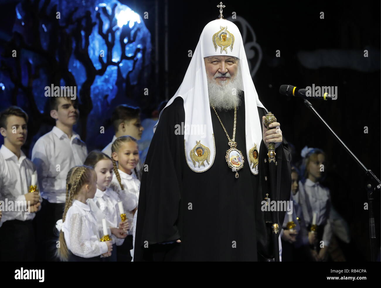 Moscow, Russia. 07th Jan, 2019. MOSCOW, RUSSIA - JANUARY 7, 2019: Patriarch Kirill of Moscow and All-Russia speaks during a children's Christmas party at a hall for church assemblies of the Cathedral of Christ the Saviour. The Russian Orthodox Church celebrates Christmas according to the Julian calendar. Mikhail Japaridze/TASS Credit: ITAR-TASS News Agency/Alamy Live News - Stock Image