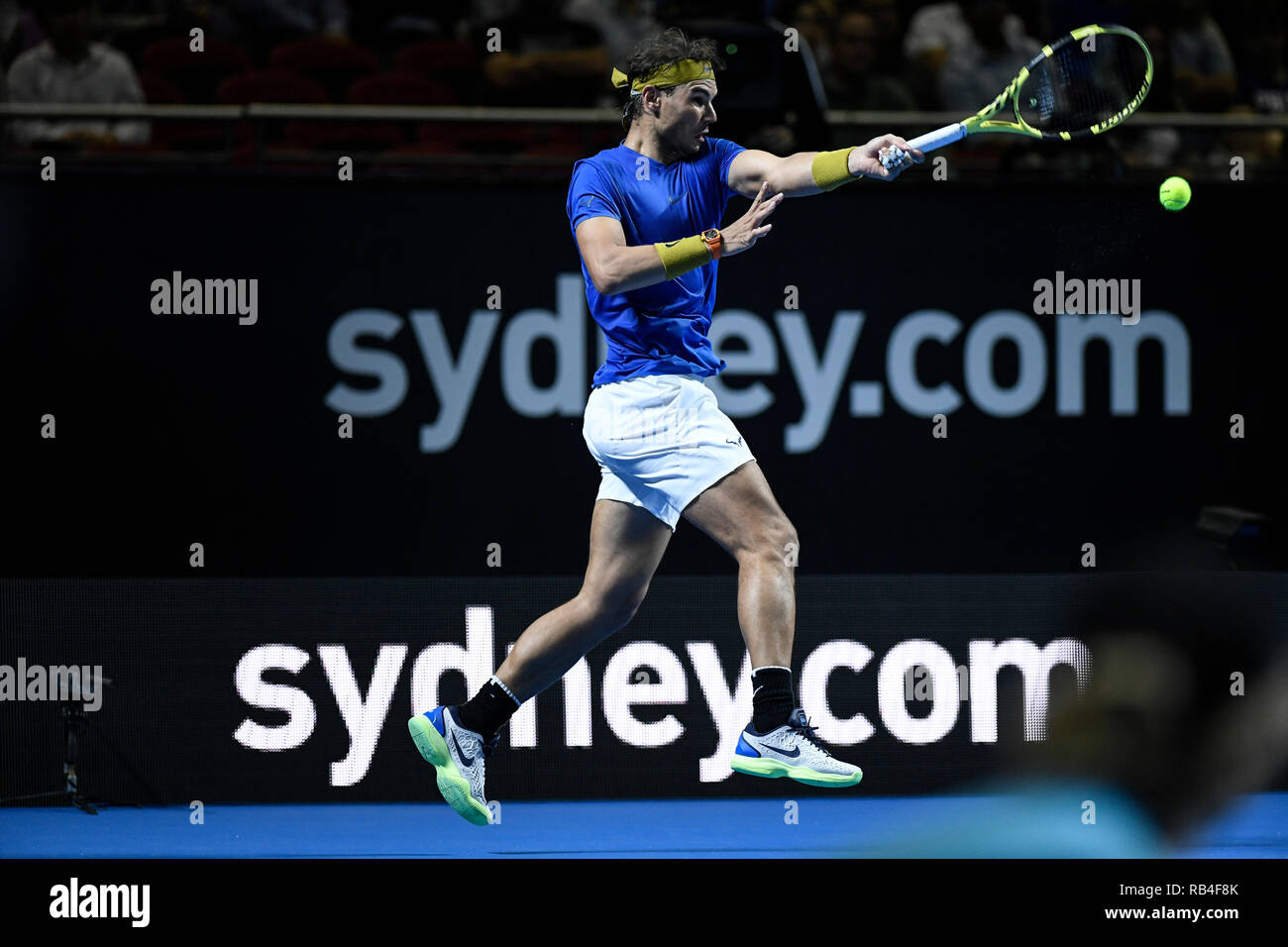 Qudos Bank Arena, Sydney, Australia. 7th Jan, 2019. Fast4 Tennis Showdown; Rafael Nadal of Spain hits a forehand to Nick Kyrgios of Australia Credit: Action Plus Sports/Alamy Live News - Stock Image