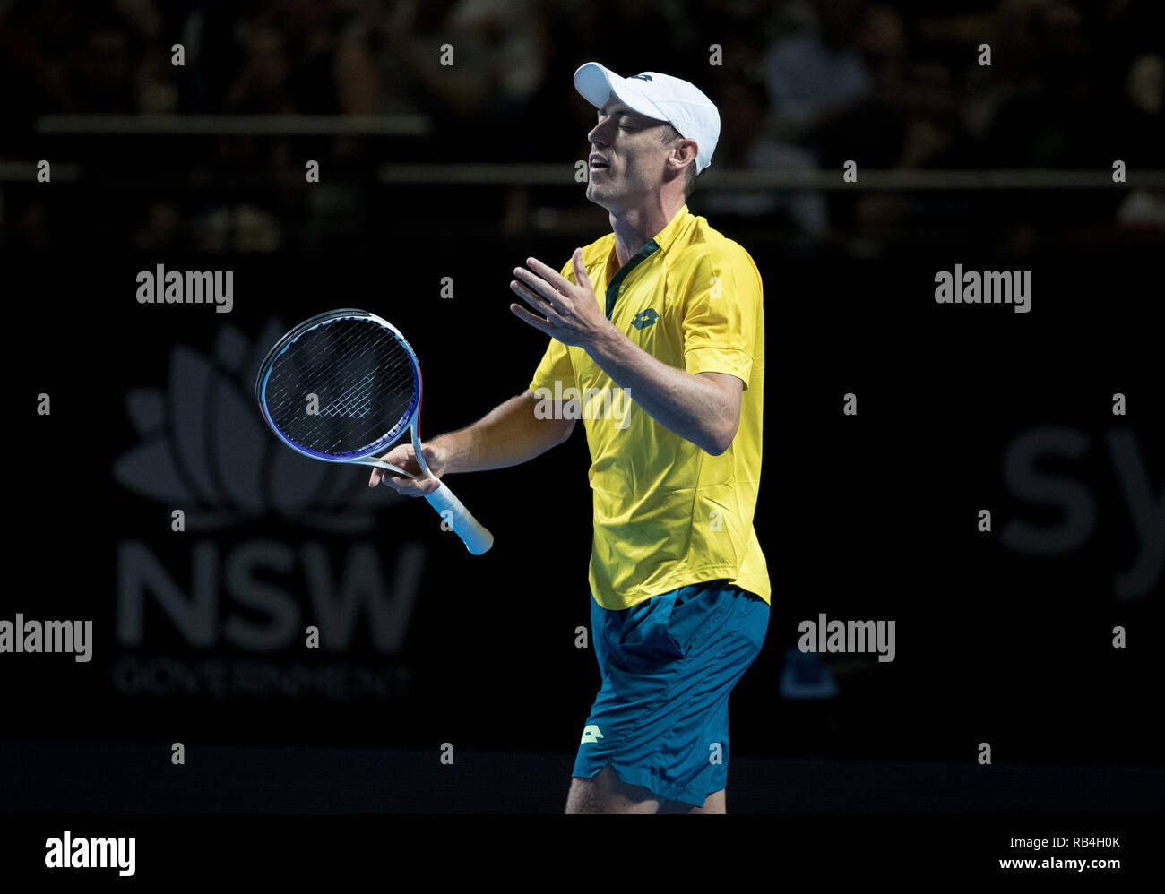 Sydney, Australia. 7th Jan, 2019. John Millman of Australia reacts during the men's single match against Milos Raonic of Canada at Fast4 Showdown in 2019 Sydney Tennis Open in Sydney, Australia, Jan. 7, 2019. John Millman won 2-0. Credit: Zhu Hongye/Xinhua/Alamy Live News - Stock Image