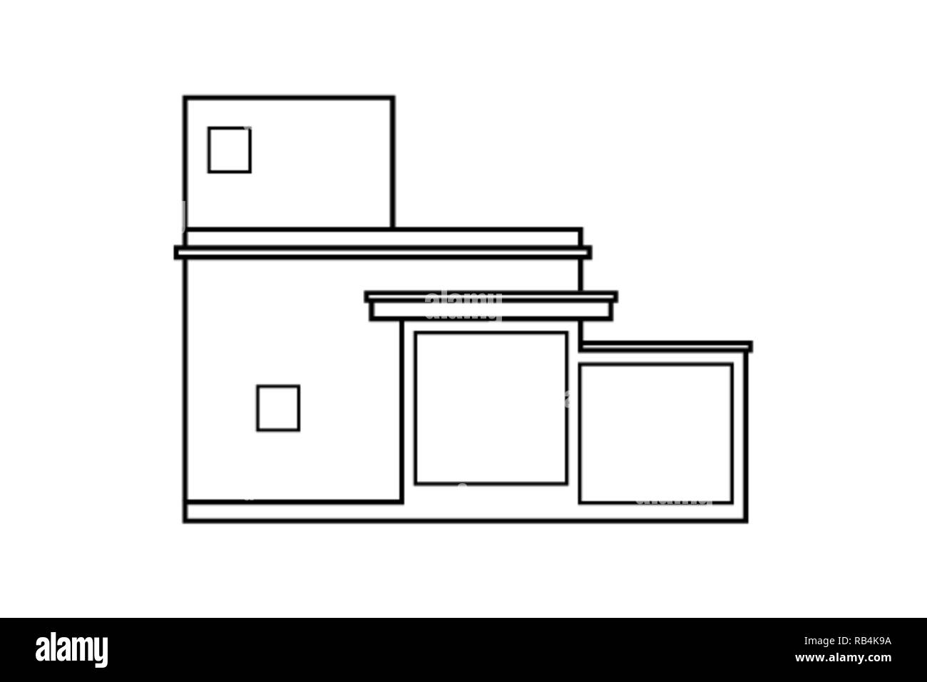 Abstract Outline Drawing Modern House Or Building Square