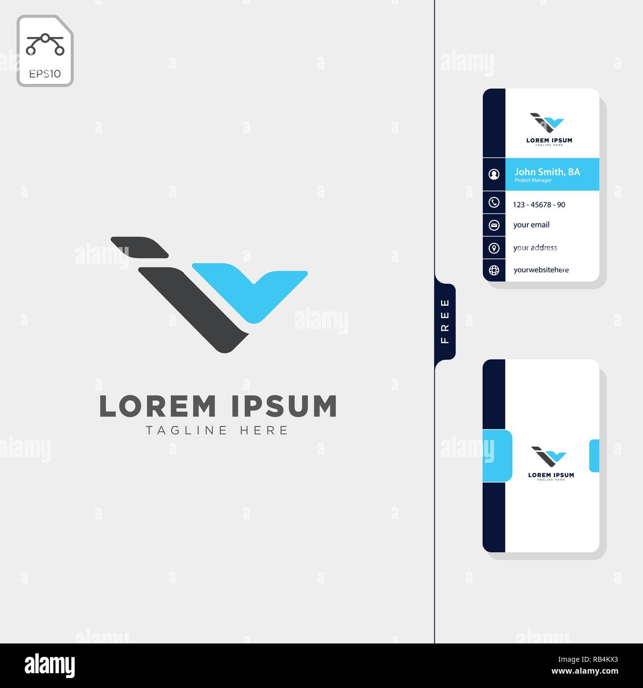 minimal i, iv, or v initial logo template vector illustration free business card template design - Stock Vector