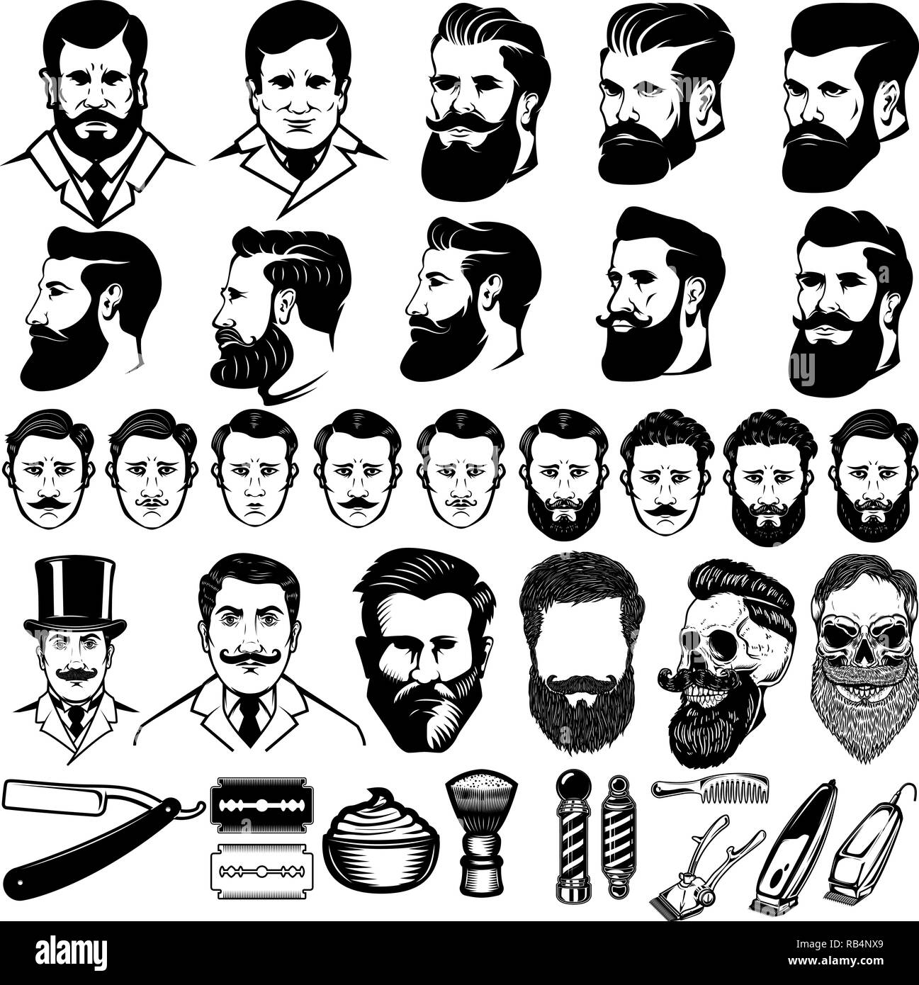 Set Of Vintage Barber Monochrome Icons Men Hairstyles And Design