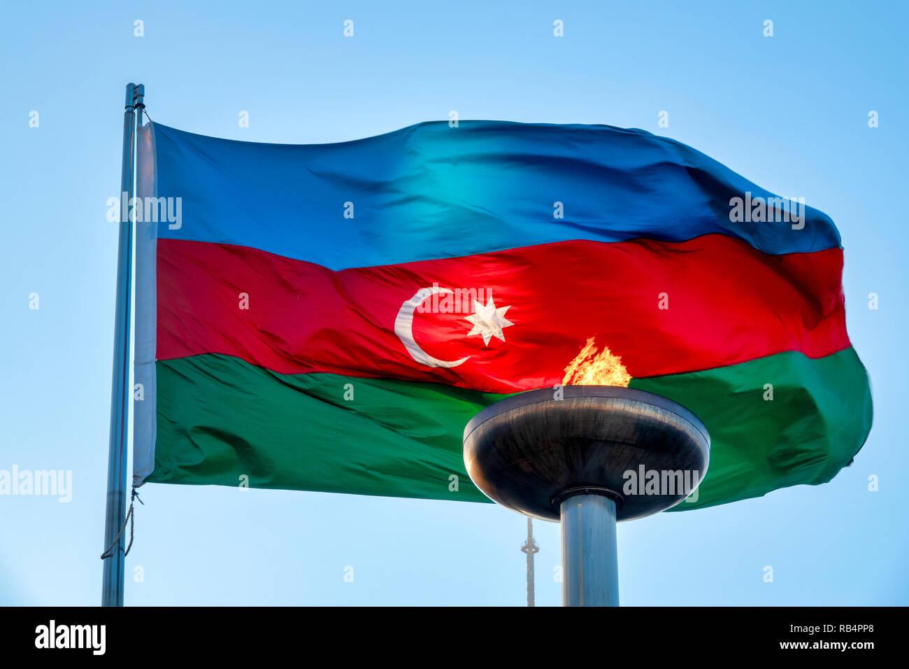 Azeri flag on Martirs' Lane, Baku, Azerbaijan Stock Photo