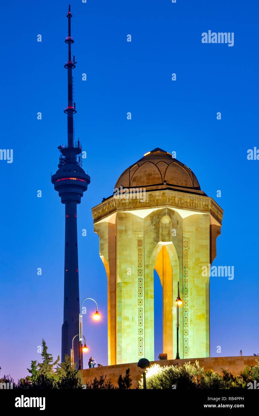 Baku Tv Tower and Eternal flame memorial in Martyrs' Lane, Baku