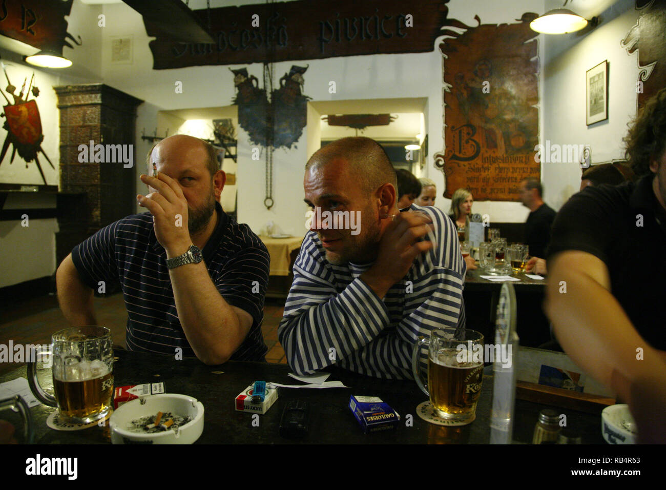 A July 25, 2007, evening at the legendary Prague pub called U Cerneho vola (the Black Ox pub) at Loreta Square in Hradcany, the Castle District of Pra - Stock Image