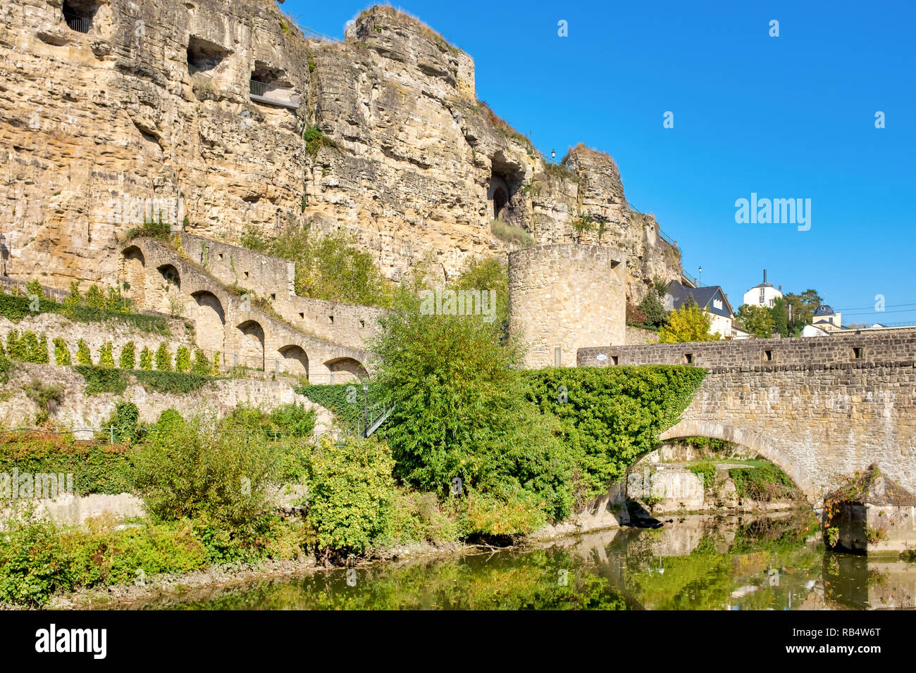 The Bock is a promontory in the north-eastern corner of Luxembourg City's old historical district, Luxembourg City - Stock Image