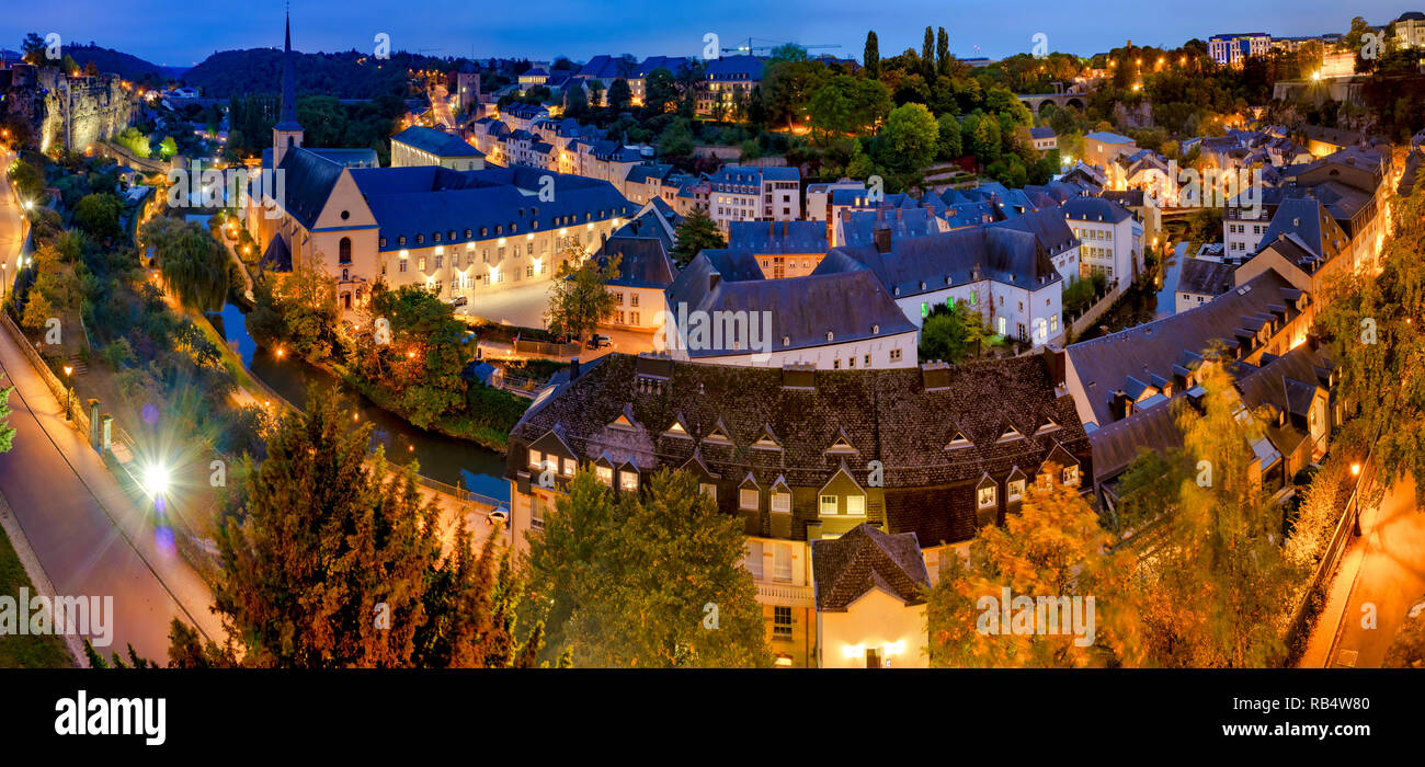 Skyline of Luxembourg City viewed over the Grund quarter - Stock Image