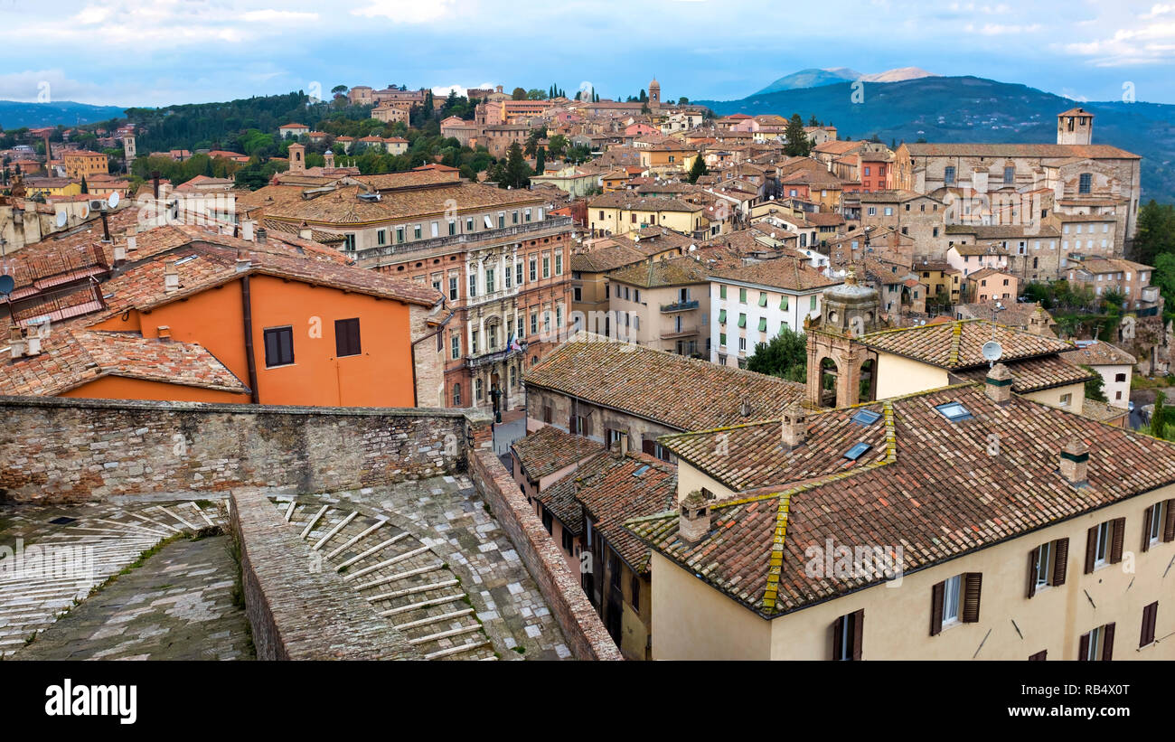 Porta Sole, one of the oldest access point to Perugia, Italy - Stock Image