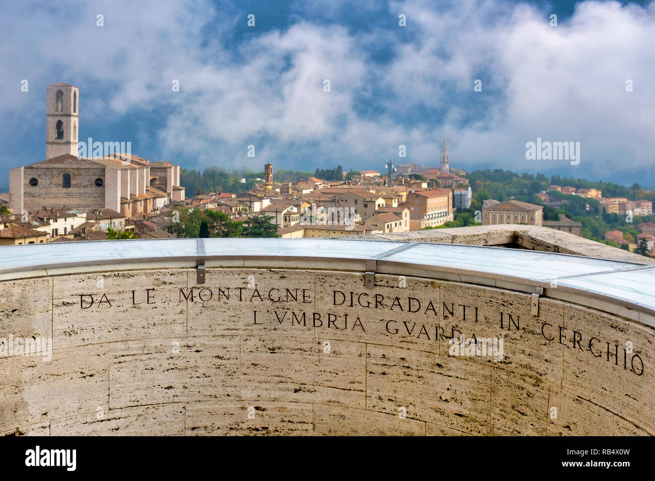 """Basilica of San Domenico seen from the """"L'Umbria Guarda"""" (Umbria watches) viewpoint , Perugia Italy - Stock Image"""