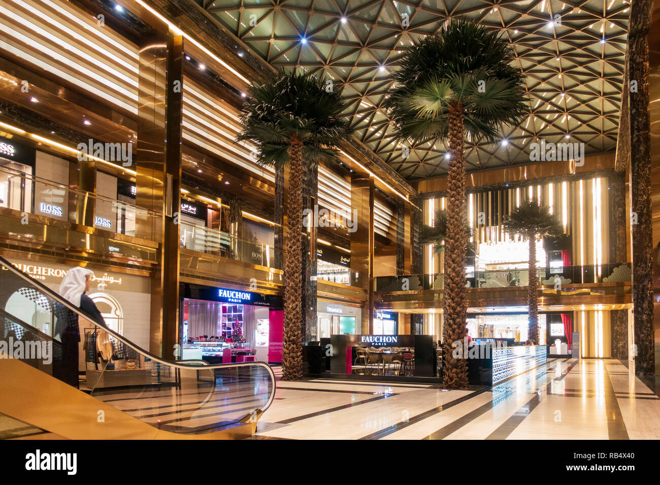 Interior of new Prestige luxury arcade with high-end boutiques inside The Avenues shopping mall in Kuwait City, Kuwait - Stock Image