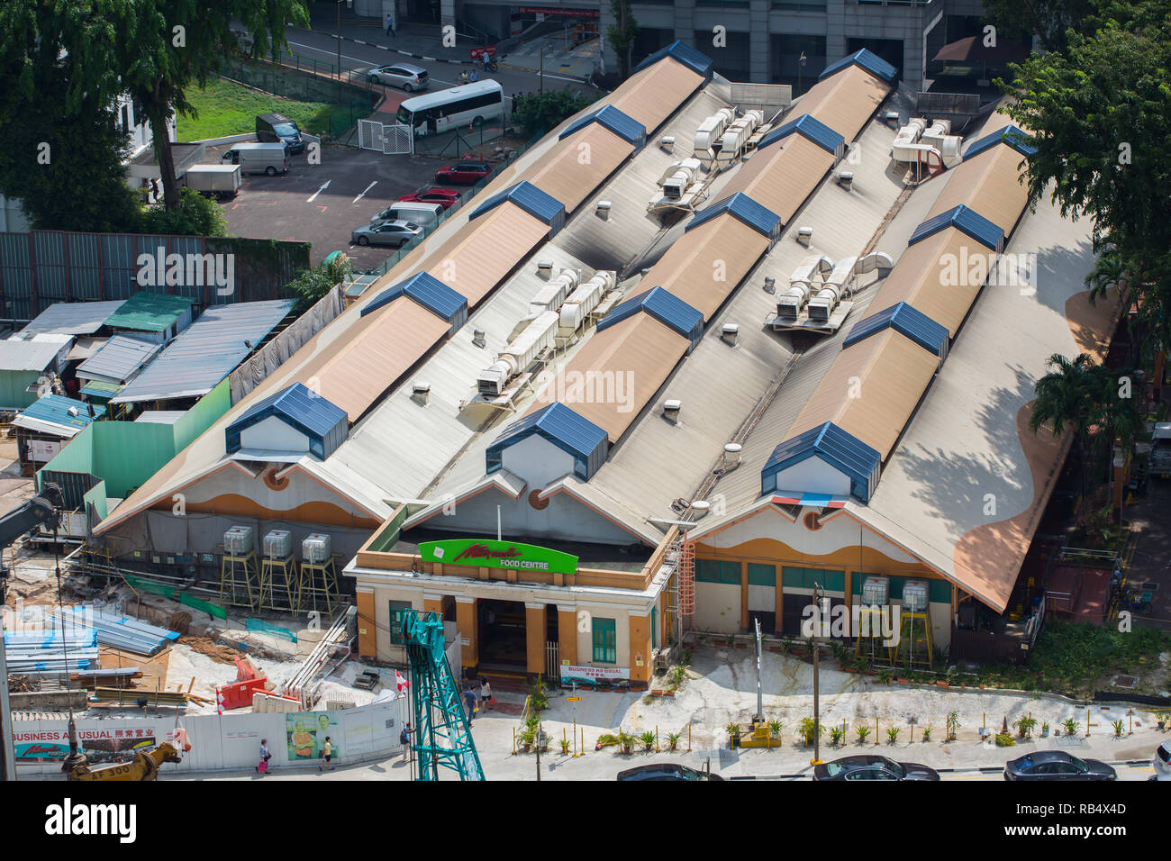 Aerial perspective of Maxwell Food Centre corrugated-roofed. A popular and affordable eating place adored by tourists for the famous chicken rice. - Stock Image