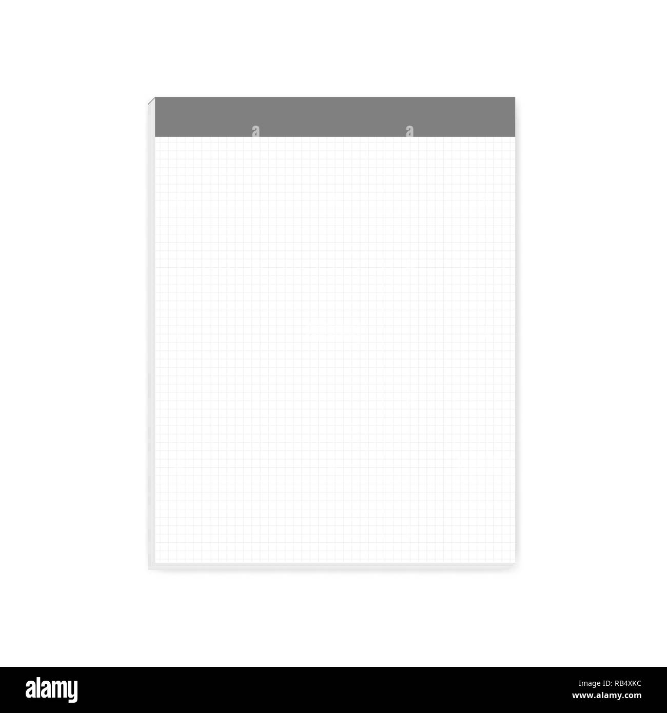 Squared white note paper block, realistic vector mock-up. Letter size writing pad with tear off sheets, mockup - Stock Image