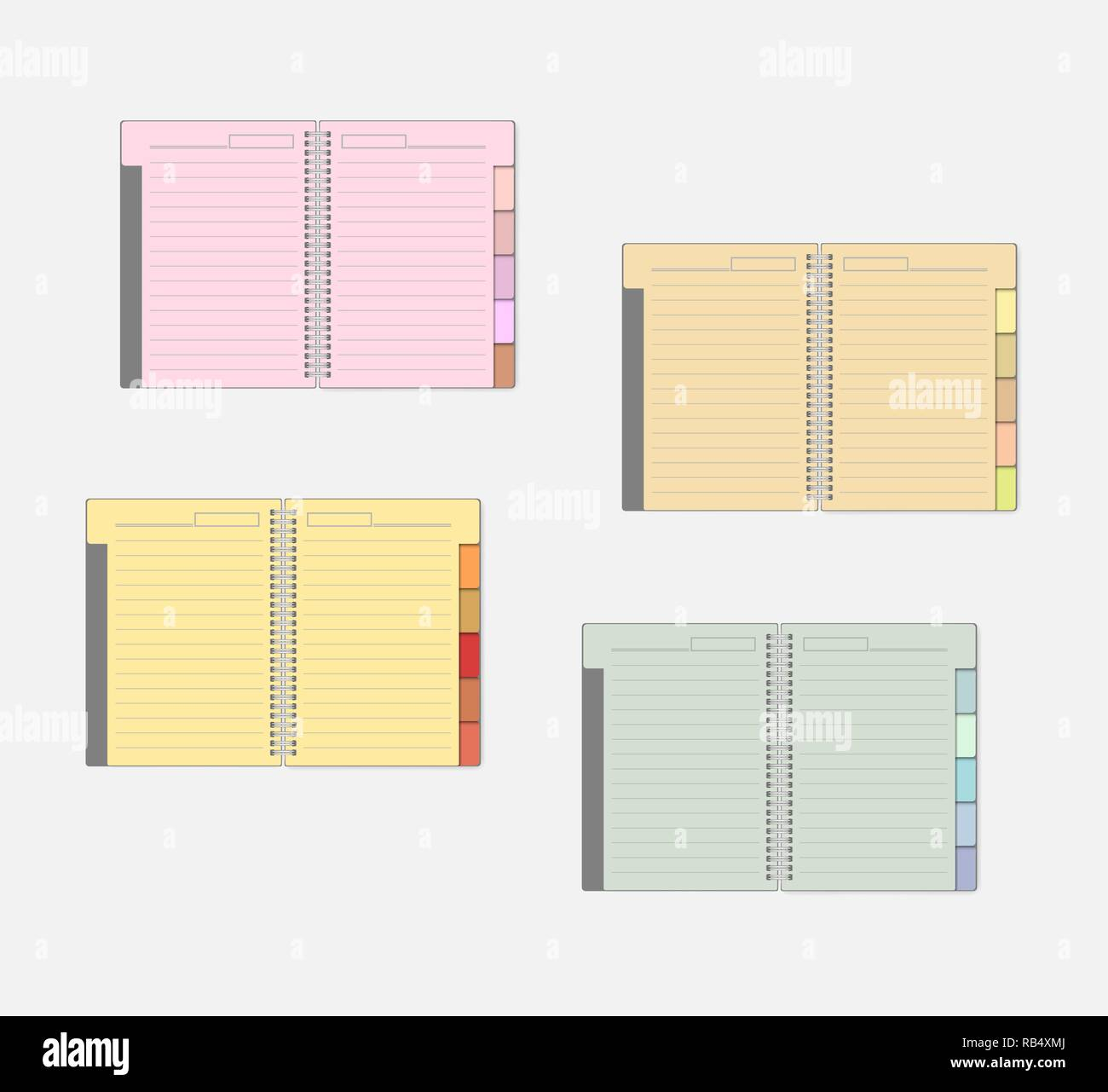 Open Spiral Notebook With Color Pages And Tab Dividers Mockup Set