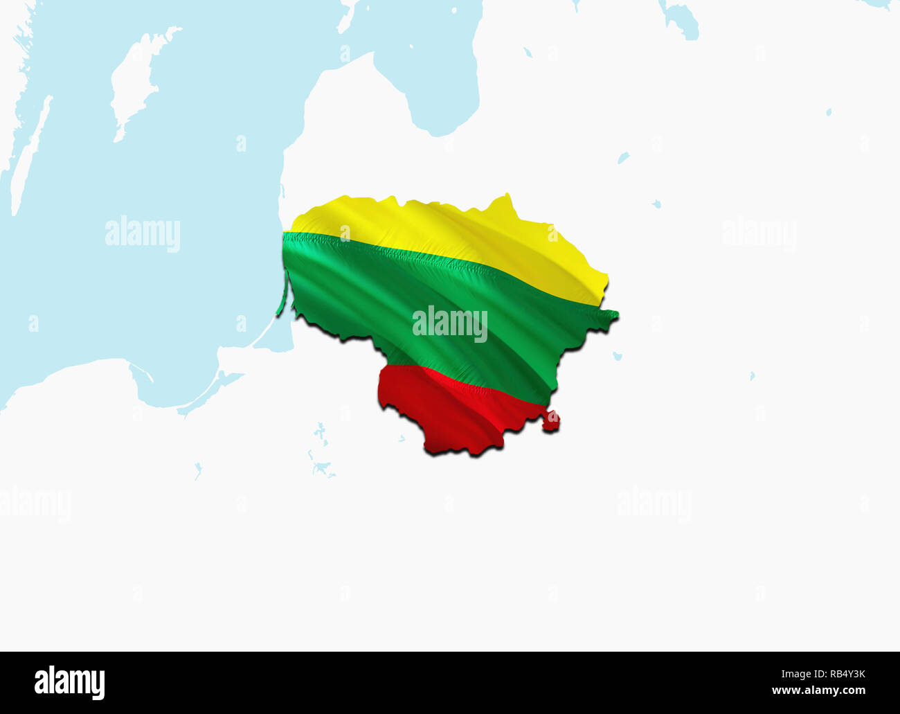 Flag Map of Lithuania  3D rendering Lithuania map and flag  The