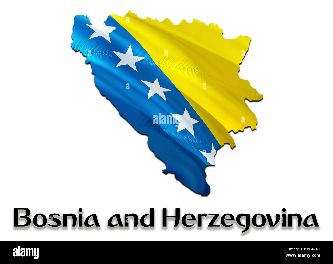 Flag Map of Bosnia and Herzegovina. 3D rendering Bosnia and Herzegovina map and flag. The national symbol of Bosnia and Herzegovina. National waving f - Stock Image