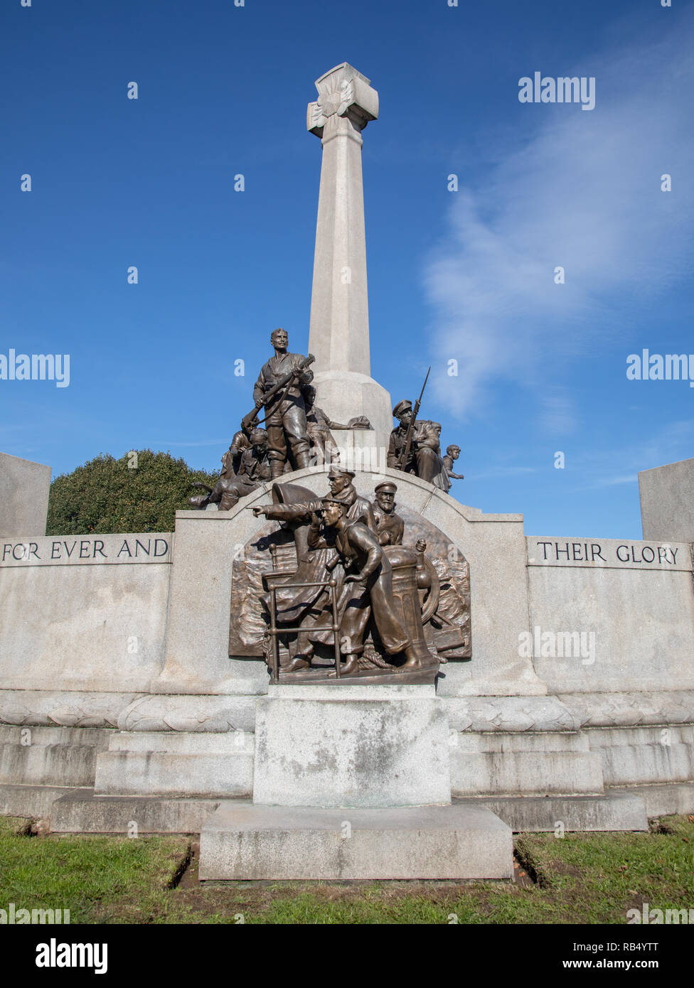 Memorial to mark Lever Brothers employees lost in the First World War and added to after the Second World War at Port Sunlight Wirral September 2018 Stock Photo