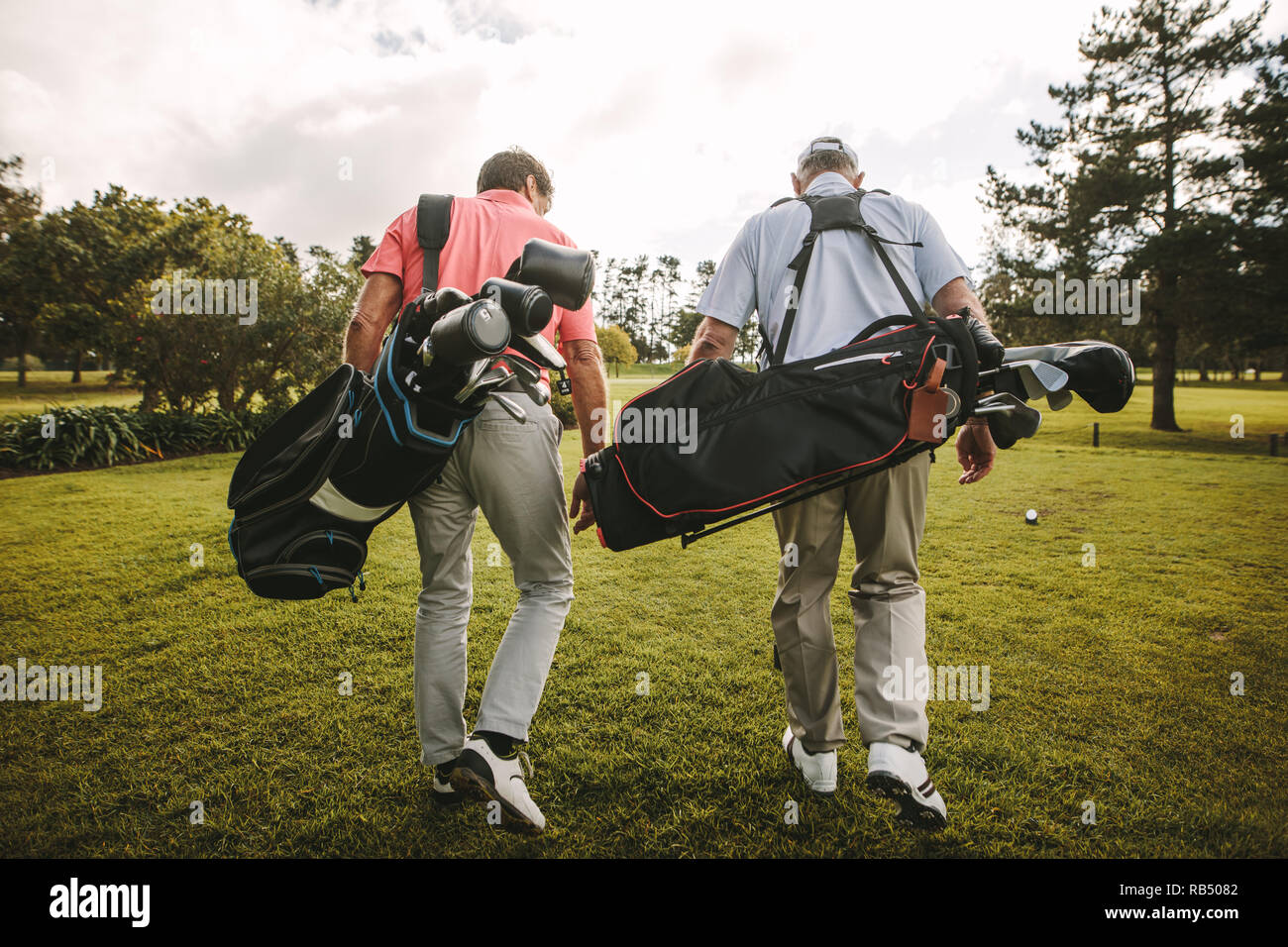 Rear view of two senior golf players walking together in the golf course with their golf bags. Senior golfers walking out of the course after the game - Stock Image