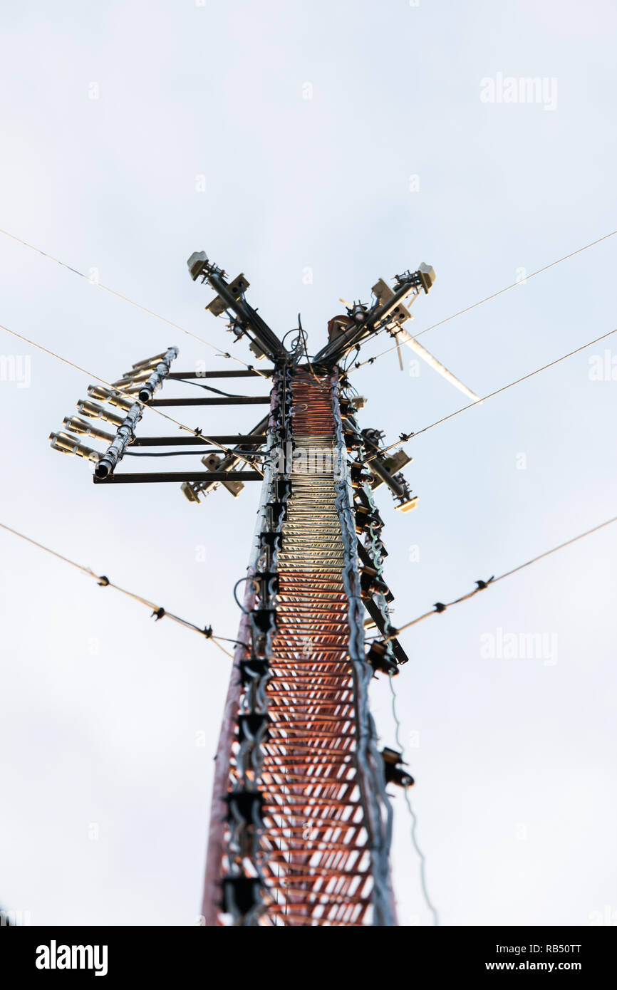 Communication radio  Tower with Sunlight Used in radio transmissions and communications. - Stock Image