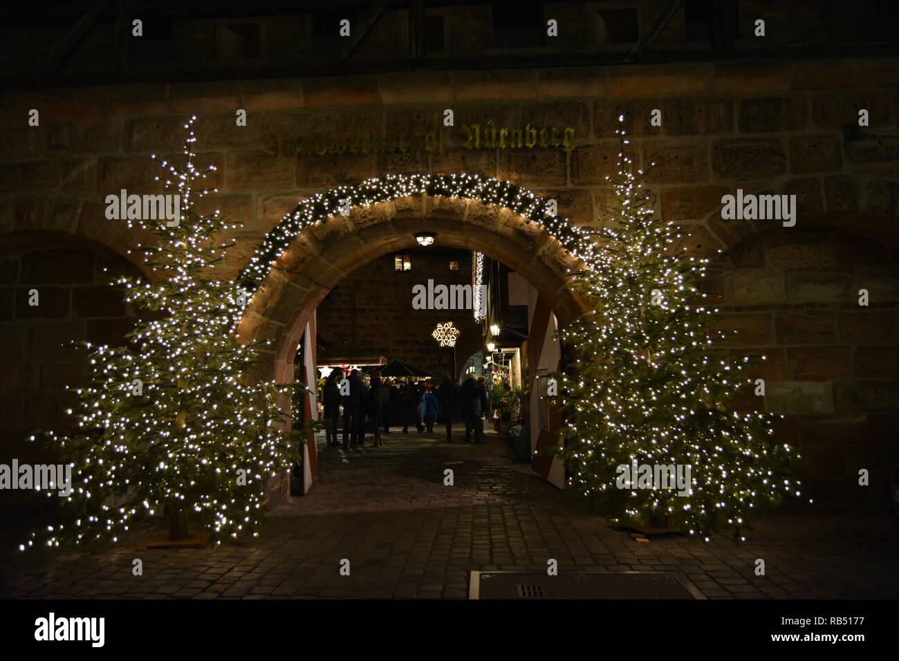 The amazing Christmas markets of Nuremberg, Germany. Night view. - Stock Image