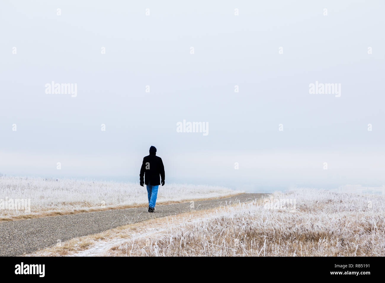 A winter walk, a man walks alone through the frost covered pairie - Stock Image