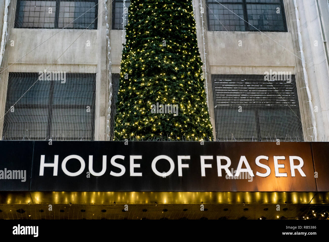 House of Fraser store in Oxford Street London, with Christmas decorations. - Stock Image