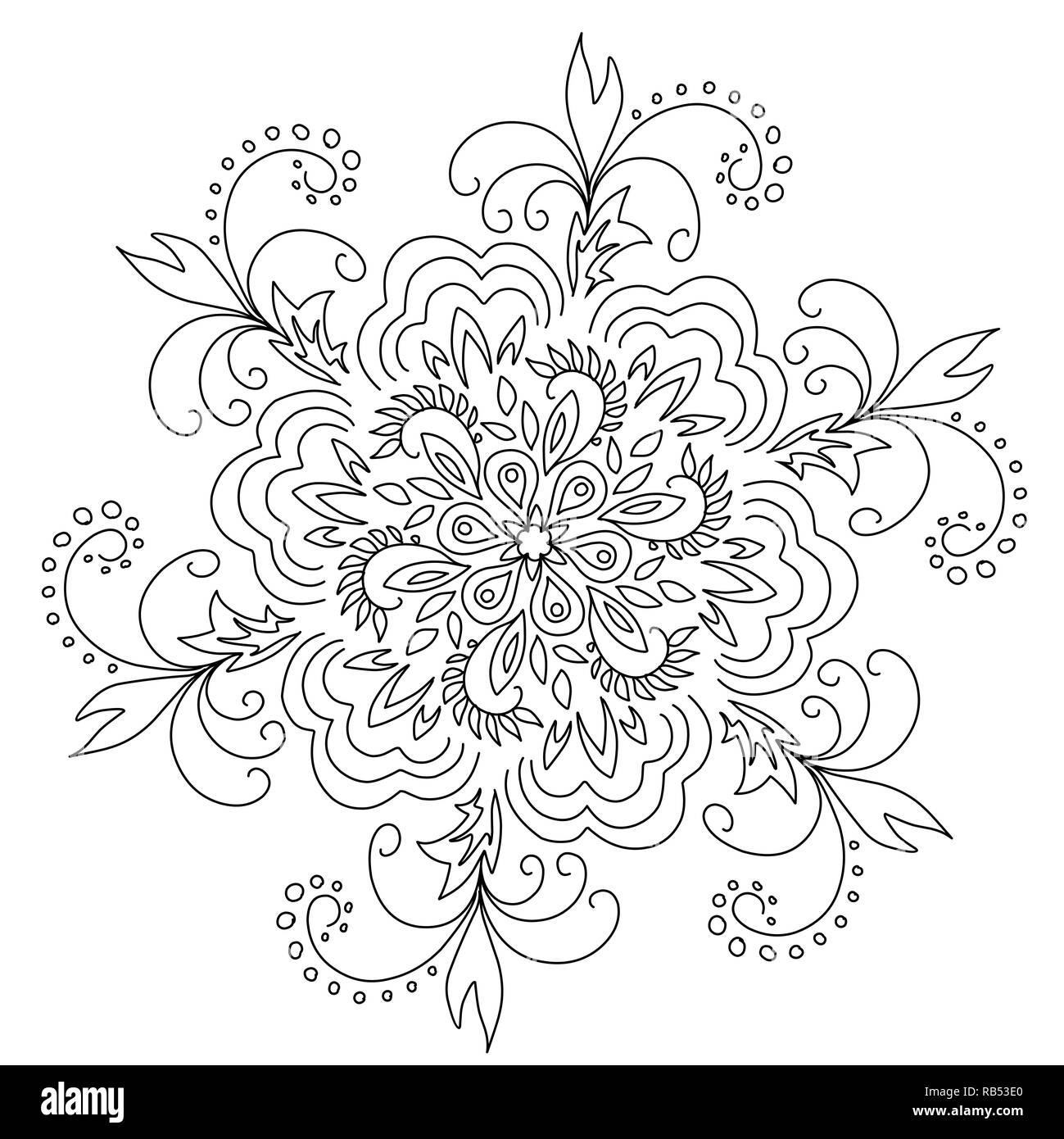 Stock Illustration Black and White Pattern on a White Background - Stock Image