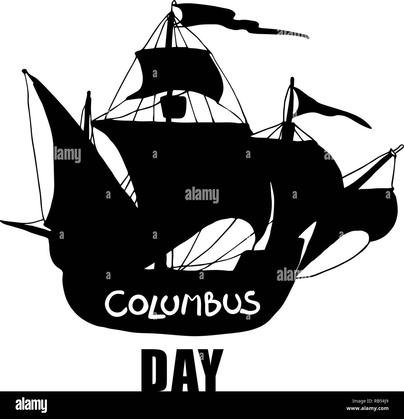 Columbus day greeting card or background. Vector illustration. - Stock Image