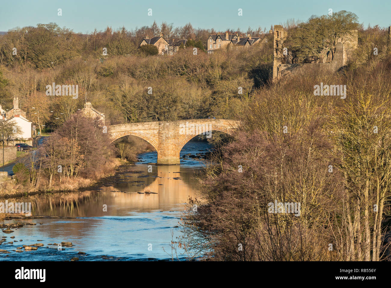 County Bridge and the castle ruins, Barnard Castle, Teesdale, County Durham, UK in January Sunshine Stock Photo