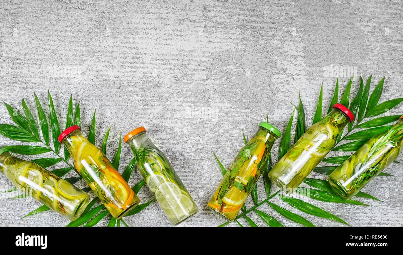 Detox drinks,  palm leaves,  Mojito, rosemary, summer, healthy Stock Photo