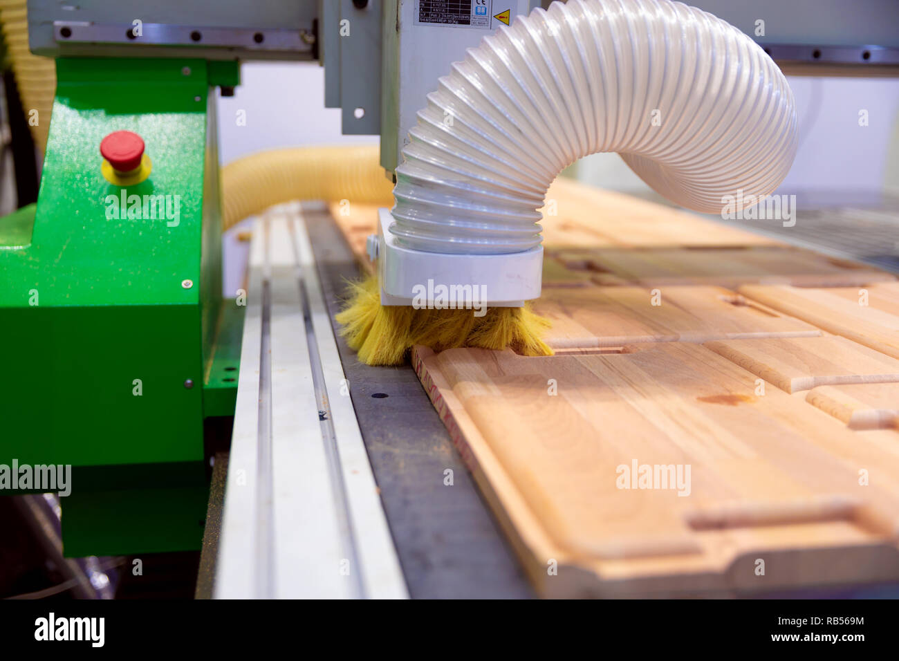 CNC woodworking wood processing machine, modern technology in the industry. - Stock Image