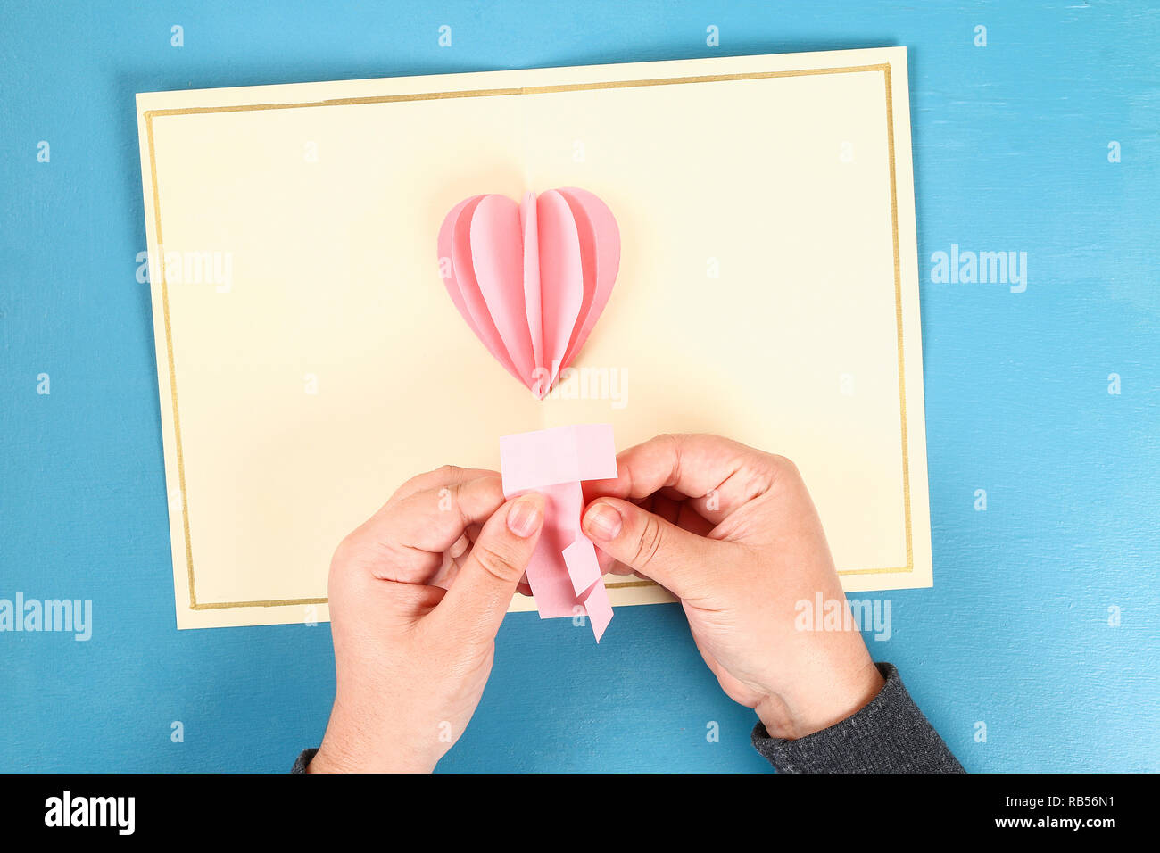 Diy Valentines Greeting Card Blue Wooden Background Gift Ideas Day Love February 14 Valentines Day Handmade Card Volumetric Heart Paper Form Ball Stock Photo Alamy