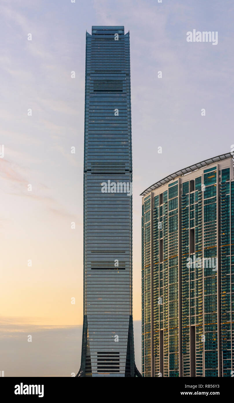 Detail of the International Commerce Centre and The Harbourside, West Kowloon, Hong Kong - Stock Image