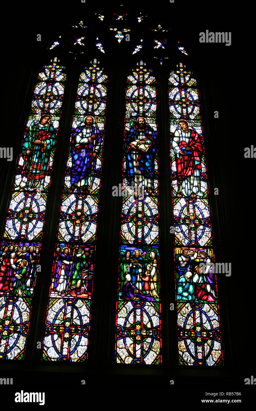 Large Stained Glass Window.Large Stained Glass Windows In The Church Of The Covenant In