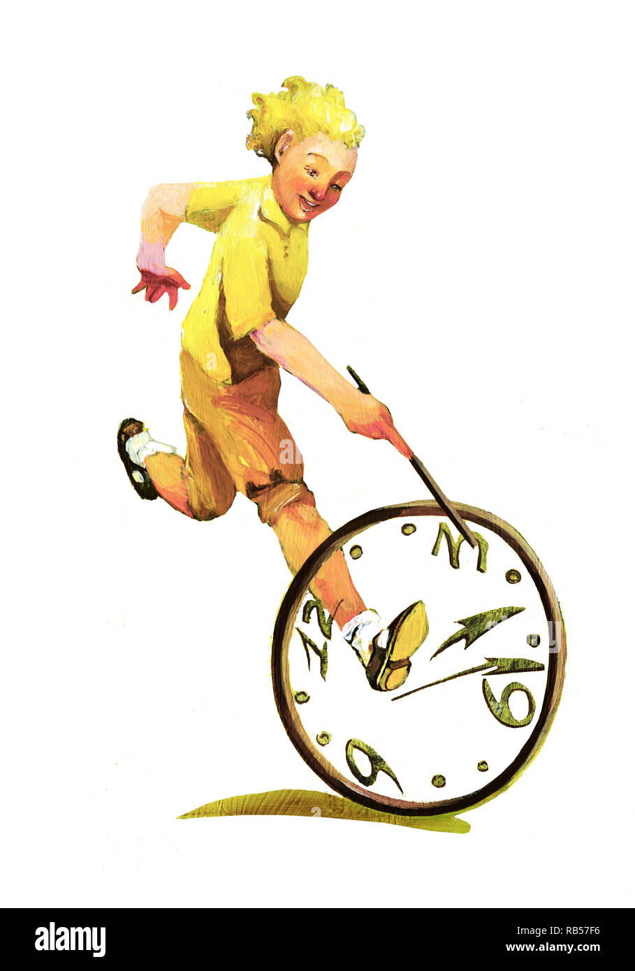 boy races with the circle for him the time is a very beautiful and simple game - Stock Image