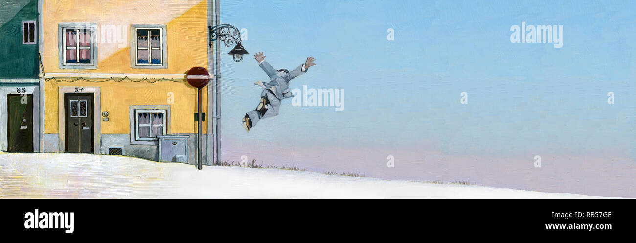 surreal concept of desire of freedom a man seems flying near next  faades of sunny houses  art style, illustration painting - Stock Image