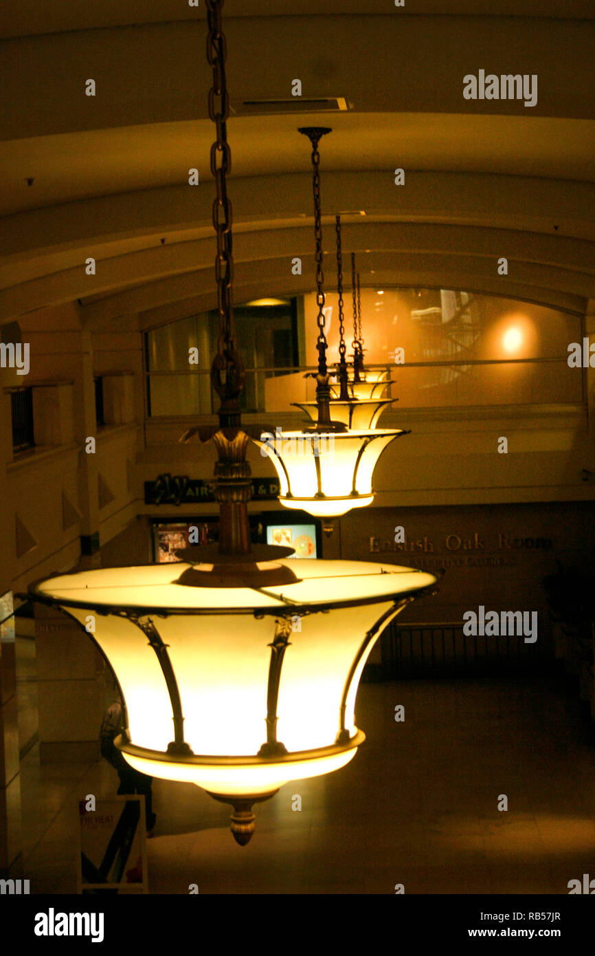 Row of light fixtures inside clevelands tower city center