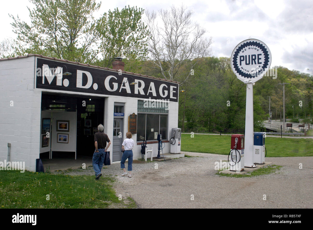 M. D. Garage, historical building in Boston, Ohio, used as an art gallery in the present - Stock Image