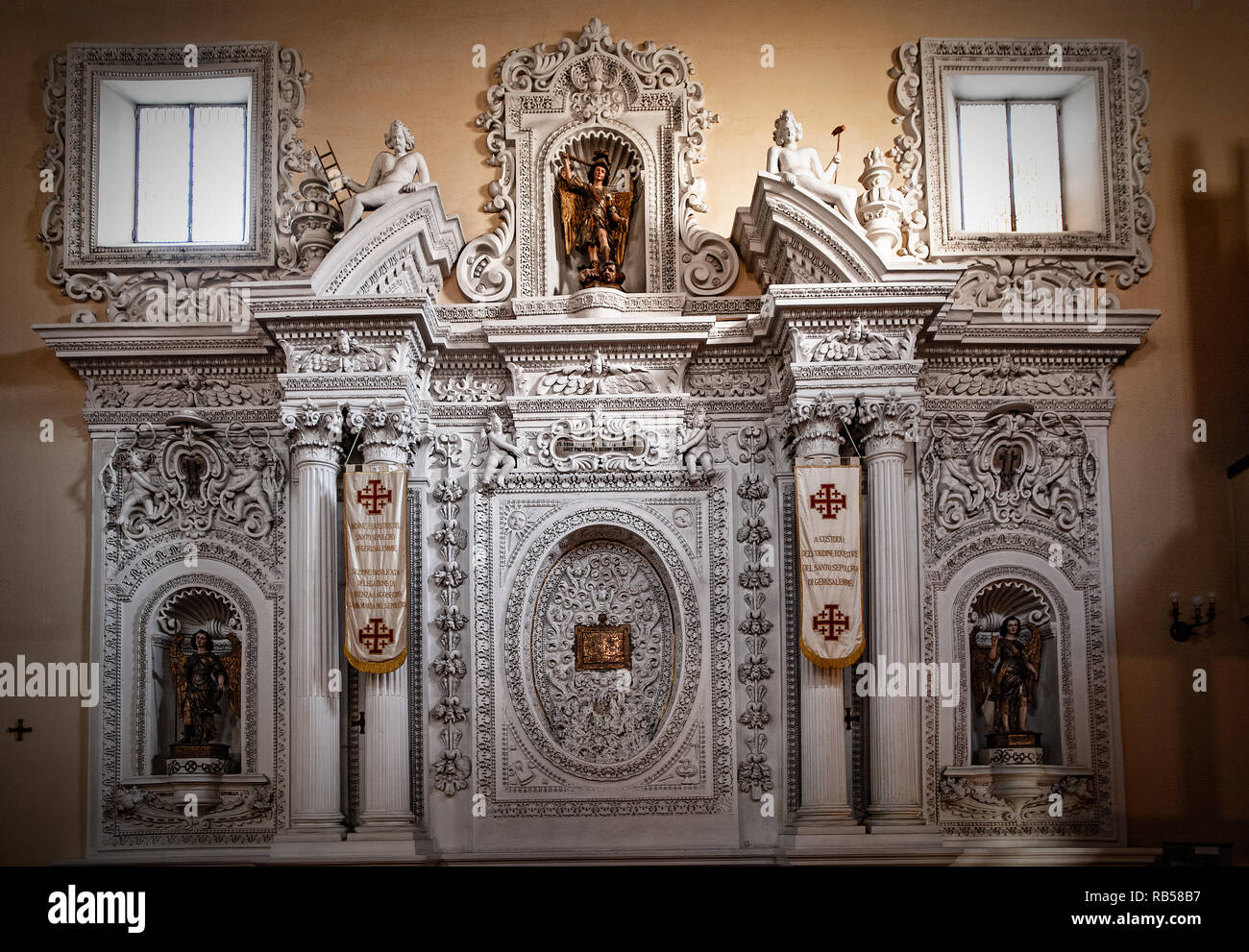 Italy Basilicata Potenza Santa Maria del Sepolcro Church tabernacle with relic of the blood of Christ,baroque altar, - Stock Image