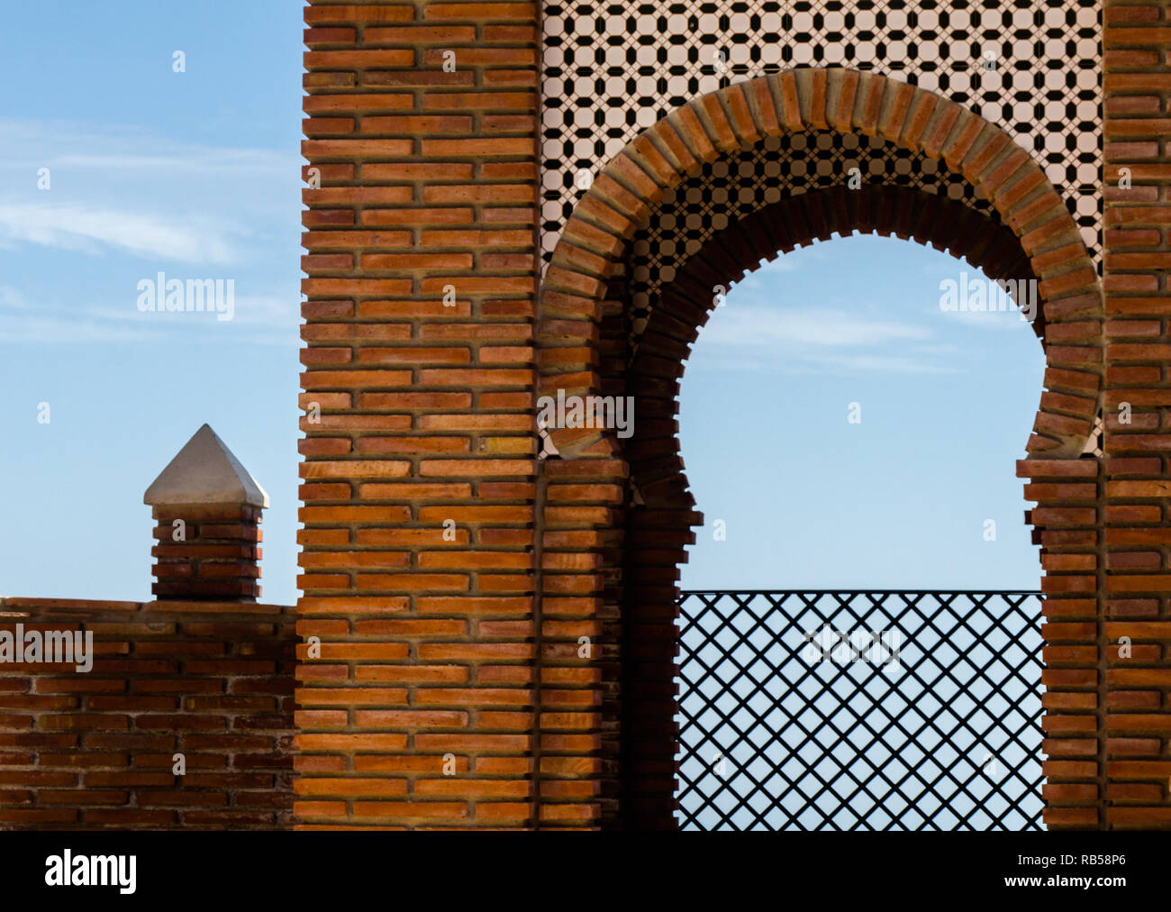 Typical Moorish defensive walls in a small town of Andalusia, a historic element of architecture, Spain - Stock Image
