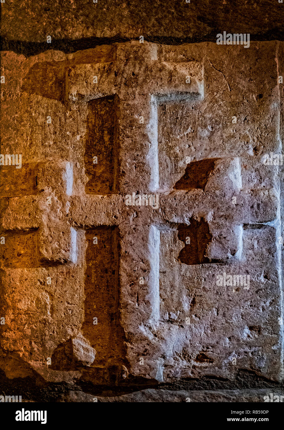 Italy Basilicata Vaglio Mother Church of St. Peter the Apostle 12-point power cross Stock Photo