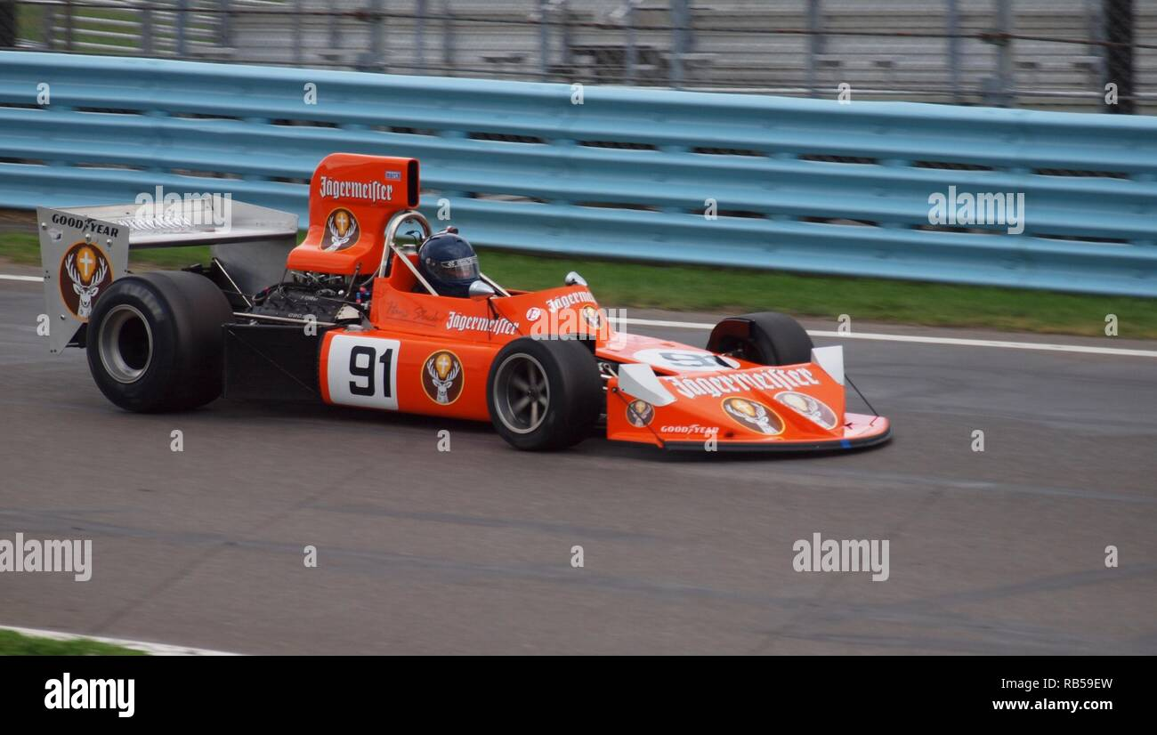 Vintage Formula one race car at the Watkins Glen race track in 2012. A gathering of historic Formula cars. - Stock Image