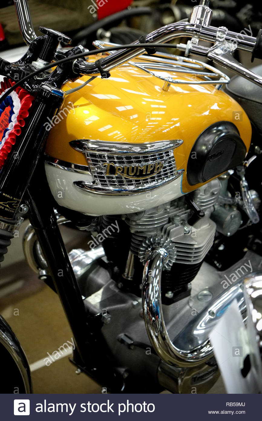 Classic Triumph Motorcycle at the Newark Showground 2019. - Stock Image