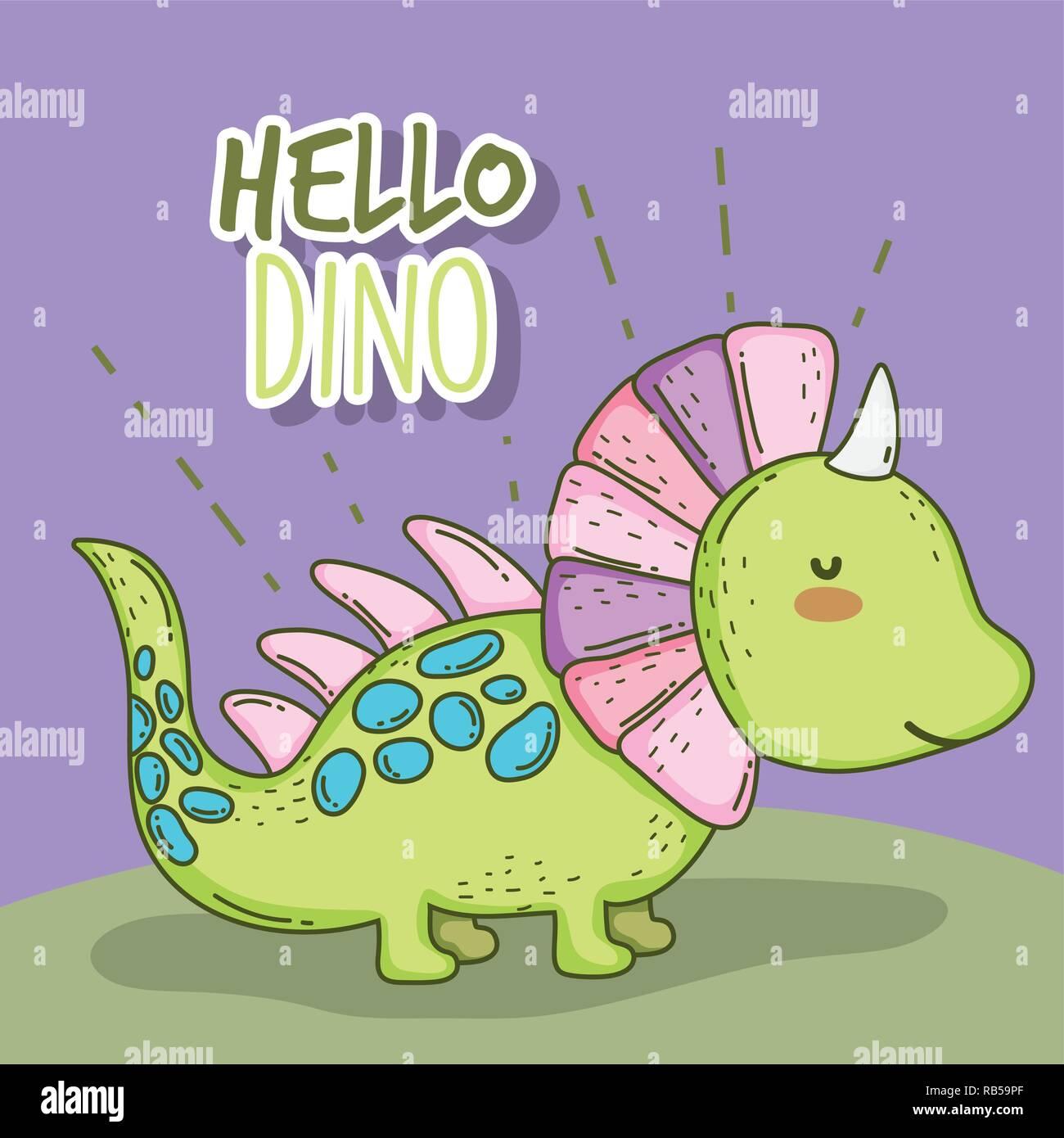 cute styracosaurus wildlife dino animal - Stock Image