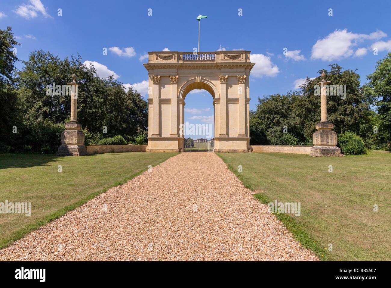 The Corinthian Arch on the original driveway to Stowe House, Buckinghamshire UK - Stock Image
