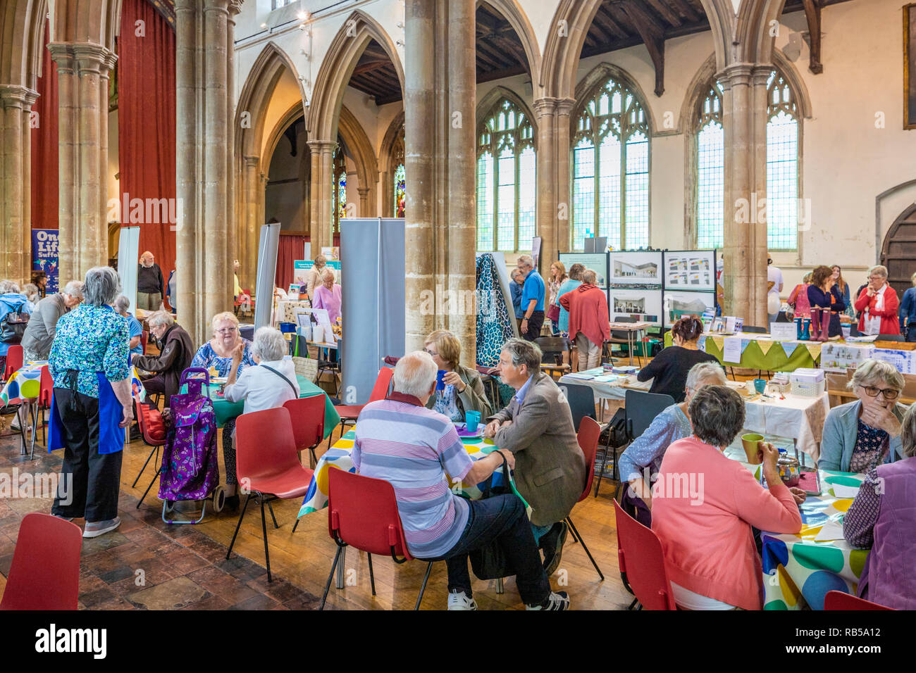 St Peters church in the market place in Sudbury, Suffolk UK being used for a community event on market day. - Stock Image