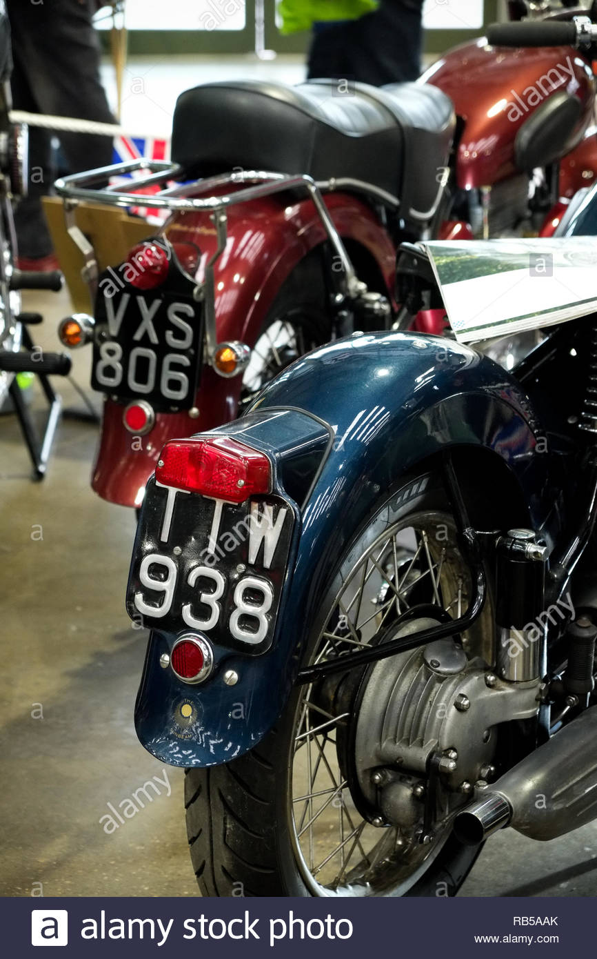 Classic motorcycles on display at Newark Showground 2019. - Stock Image
