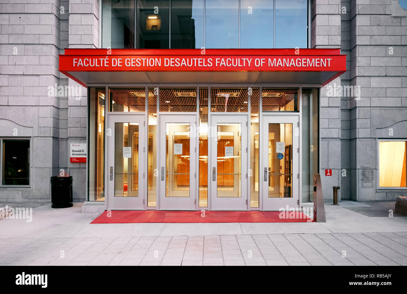 Mcgill university faculty of management armstrong building entrance on mctavish street in Montreal, Quebec, Canada. - Stock Image