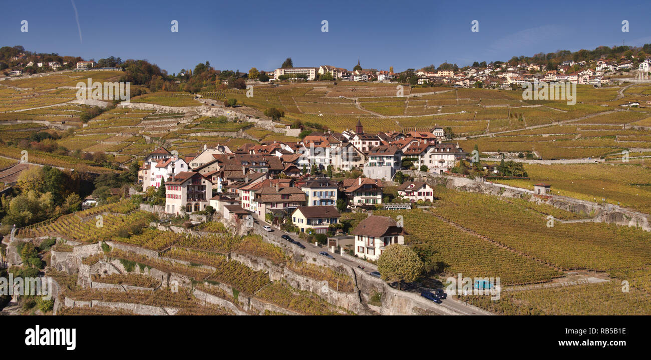 The Swiss winemaker village of Rivaz above Lake Geneva in the UNESCO world cultural heritage area of the Lavaux seen from the air in a drone photo - Stock Image